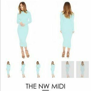 The NW midi mock neck long sleeve dress mint blue